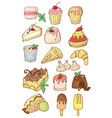 simple set of desserts isolated cartoon vector image