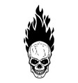 skull with fire on white background design vector image vector image