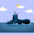 submarine warship military vehicle floating in sea vector image vector image