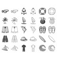surfing and extreme monochromeoutline icons in vector image vector image