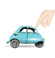 toy car and human hand vector image vector image