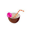tropical coconut cocktail with pink flower and vector image