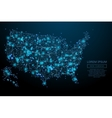 USA map low poly blue vector image vector image