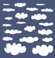 White clouds on dark navy blue sky background set vector image vector image
