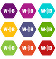 wifi icons set 9 vector image vector image