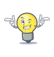 wink light bulb character cartoon vector image