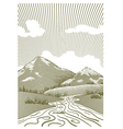 Woodcut Mountain Stream vector image vector image