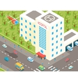 Isometric hospital and ambulance building with vector image