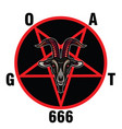 pentagram with demon baphomet satanic goat head vector image