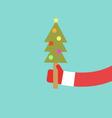Santa Claus holds Christmas tree flat design vector image