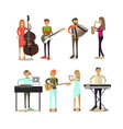flat icons set of musician characters vector image