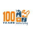 100 years gift box ribbon anniver vector image vector image