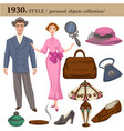 1930 fashion style man and woman personal objects vector image vector image