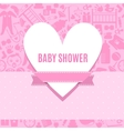 Baby shower card in pink color vector image