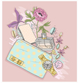 Background with purse perfumeflowes vector image vector image