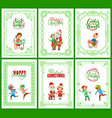 best wishes happy new year merry christmas set vector image
