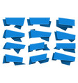 blue origami ribbons set vector image
