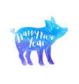 blue watercolor silhouette of pig vector image vector image