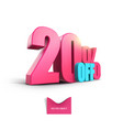 bright pink voluminous 3d inscription 20 off vector image vector image