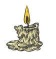 burning candle line art sketch vector image