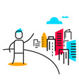 business of man pointing a urban landscape vector image