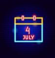 calendar 4 july neon sign vector image vector image