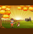 cartoon little farmer with his dog in the farm bac vector image vector image