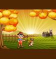 cartoon little farmer with his dog in the farm bac vector image vector image