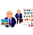 cheerful fat business man cartoon character vector image vector image
