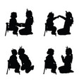 child silhouette pretty playing set in black color vector image vector image