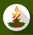 christmas candle icon on green background with vector image