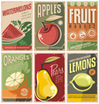 Collection of retro fruit poster designs vector image vector image