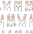 cute cartoon baby rabbit or bunny seamless pattern vector image vector image