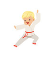 cute little boy doing karate in kimono kids vector image vector image