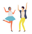 dancing man and woman disco party dancer vector image vector image