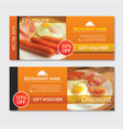discount voucher breakfast template design set of vector image
