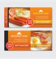 discount voucher breakfast template design set vector image