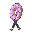 donut walk sketch engraving vector image vector image