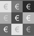 euro sign grayscale version of popart vector image vector image