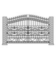fence stylish metal wrought gate silhouette vector image vector image