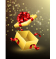 flying opened gift box with red ribbons vector image vector image