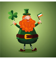 funny cartoon leprechaun with clover and irish vector image vector image