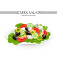greek salad isolated on white vector image