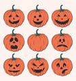 halloween isolated pumpkins vector image vector image