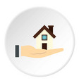 house in hand icon circle vector image vector image