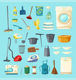 household item and cleaning supply icon set vector image vector image