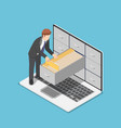 isometric businessman manage document folders in vector image