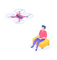 isometric man with drone young men characters vector image