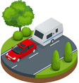 Isometric red car with camping trailer on road