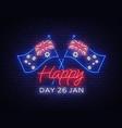 january 26th on australia day neon sign luminous vector image vector image